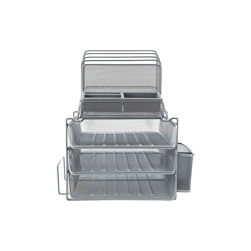 Staples All-in-One Silver Wire Mesh Desk Organizer (27642) 1483998