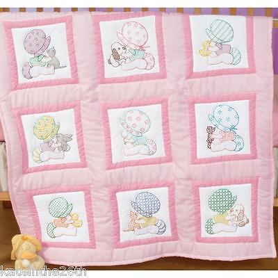 """Jack Dempsey Stamped 9""""x 9"""" 'Sunbonnet Babies' Quilt Blocks To Hand Embroider"""