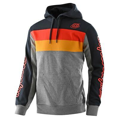 Troy Lee Designs Block Signature Mens Pullover Hoody Gray Heather/Orange SM
