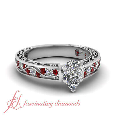 1 Carat GIA Certified Pear Shape Diamond & Ruby Engagement Ring 14K Gold D-Color