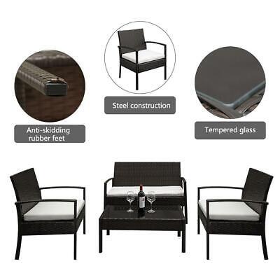 4 PCS Rattan Patio Furniture Set Garden Lawn Sofa Set /w Cushion Seat Mix Wicker 2