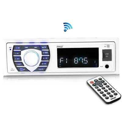 Bluetooth Marine Receiver Stereo, HandsFree Calling MP3/USB/SD AM/FM Radio White Bluetooth-marine