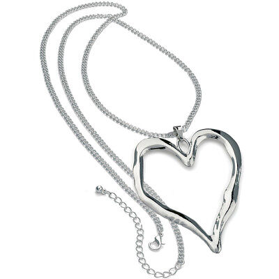 Abstract Heart Necklace - Lagenlook shiny silver large heart abstract pendant 95 cm long chain necklace