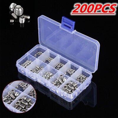 200pcs 304 Stainless Steel Hex Socket Screw Assortment Kit M3 M4 M5 M6 M8 Set