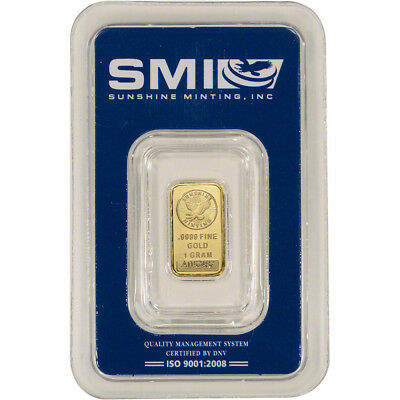 1 gram Gold Bar - Sunshine Minting - .9999 Fine in Sealed Assay