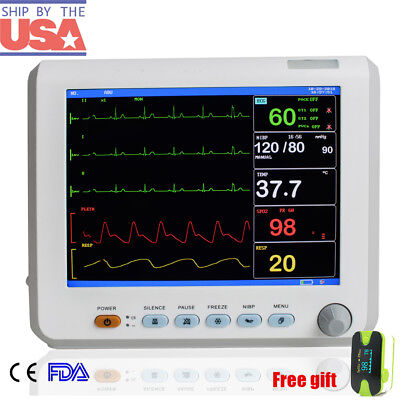 Hospital Icu Vital Signs Patient Monitor 6 Parameter Ecgnibpspo2tempresppr
