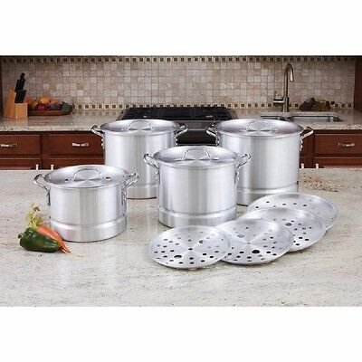 Stock Pot Steamer 12 Pc Aluminum Cookware Restaurant Catering Kitchen Equipment