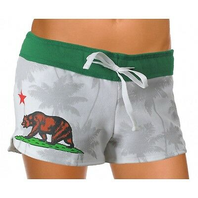 Womens Booty Shorts (California Flag Womens Fleece Shorts Drawstring Cover Up Beach Booty Running)
