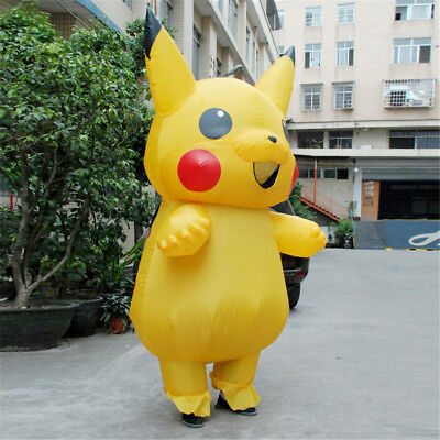 Inflatable Pokemon Pikachu Costume Kids Party Consume Cosplay Fancy Dress Outfit