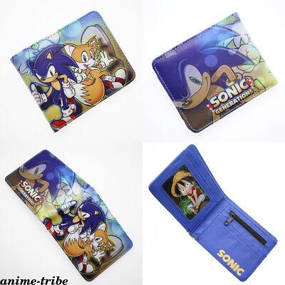 Anime Sonic The Hedgehog Bi-Fold Wallet pu short Card Holder Layers coin Purses ()