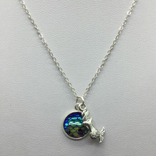 Fischschuppen Anhänger Meerjungfrau Halskette Regenbogen Kette ModeschmuckAA