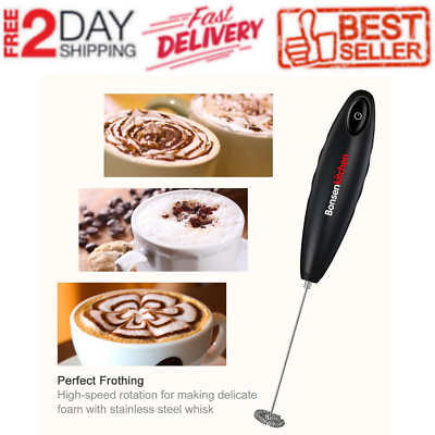 Bonsenkitchen Handheld Black Milk Frother, Stainless Steel D