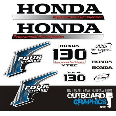 Honda Outboard Engines (Honda BF130hp 4 stroke outboard engine decals/sticker kit )
