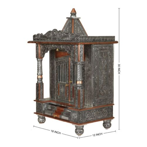 Pooja Ghar Puja Mandir Oxidized Temple For Home Handcrafted Hindu Prayer Mandap