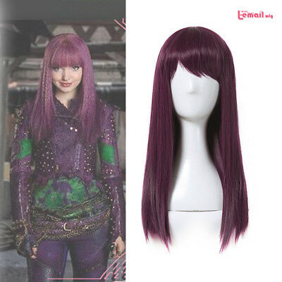 Descendants 2 Mal Purple Red Straight Cosplay Wig Womens Halloween Party Wigs - Red Wig Halloween