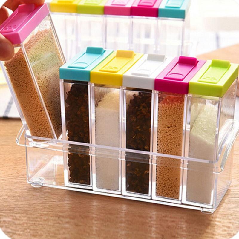6X Spice Jar Condiment Storage Box Seasoning Bottle Containers Organizer Box Set