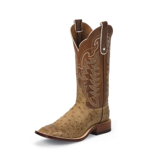 Tony, Lama, Mens, Tan, Vintage, Full, Quill, Ostrich, Cowboy, Boot, Square, Toe, -, E9322