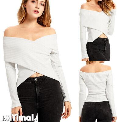 Women Sexy Off Shoulder Plain T Shirt Ladies Casual Long Sleeve Blouse Crop Tops