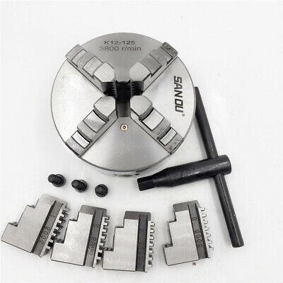 4 4jaw Metal Lathe Chuck Self-centering K12-100 100mm Jaws Wrench Cnc Center