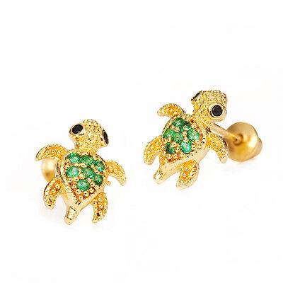 14k Gold Plated Green Turtle Children Screwback Baby Girls Earrings