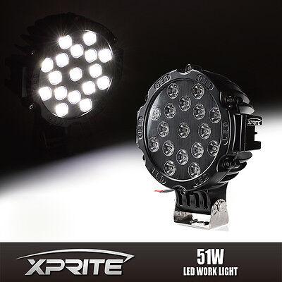 """7"""" Inch 51W Black Spot LED Light Offroad Round Work Lamp For Truck 4WD ATV UTV"""