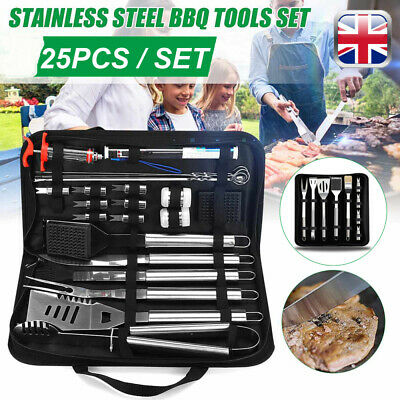 25PCS BBQ Grill Griddle Accessories Tools Set Kit Thick Stainless Steel Utensil