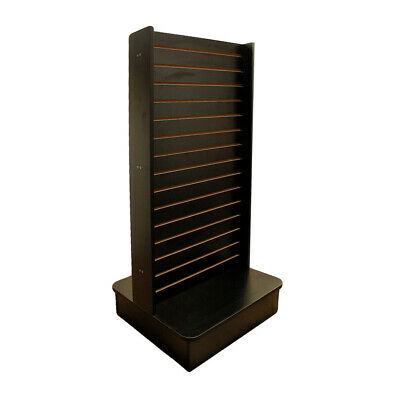 "Display Tower 2 Sided Slatwall Knockdown Displays Floor Stand Black 25""x25""x54"""