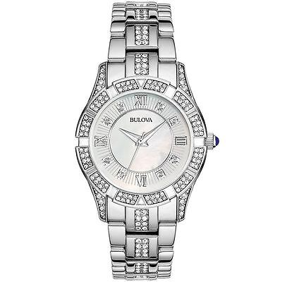 Bulova Womens Stainless Watch with Swarovski Crystals  96L116