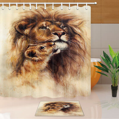 Lion and Lioness Couple Shower Curtain Bathroom Decor Fabric & 12hooks 71x71inch ()