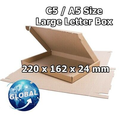 ROYAL MAIL BROWN LARGE LETTER CARDBOARD POSTAL MAILING BOX C5 / A5 25pcs FREE PP