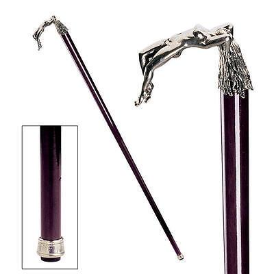 Italian Pewter Nude Female Temptress Handle Hardwood Cane Walking Stick