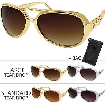 Elvis Presley Sunglasses - Aviator Rock Star Sunglasses with Microfiber
