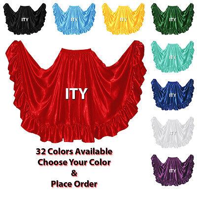 Satin Flamenco Skirt 12 Yard Ruffle Belly Dance Gypsy Tribal Costume Jupe Ats (Tribal Costumes)