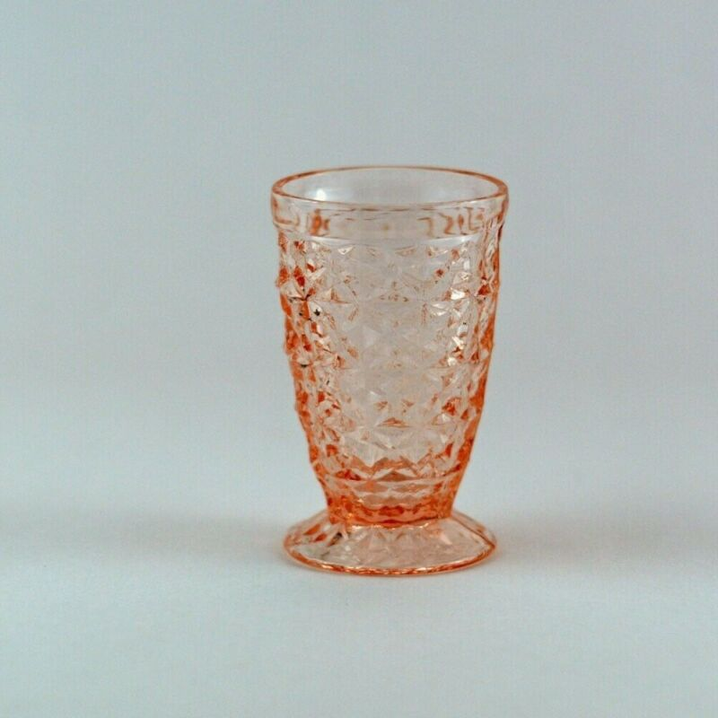 """Jeannette Glass Company Holiday Button And Bows Pink 4"""" Footed Juice Tumbler"""