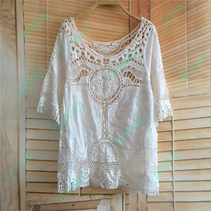 Peasant Embroidery Flared 3/4 Sleeve Cotton Crochet Women Loose Top Blouse Shirt