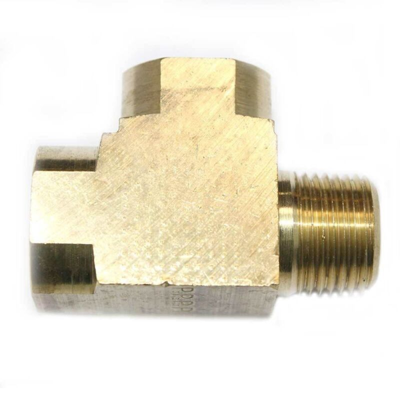 """Solid Brass Street Pipe Tee Fitting 1/2"""" NPT thread male female air fuel"""