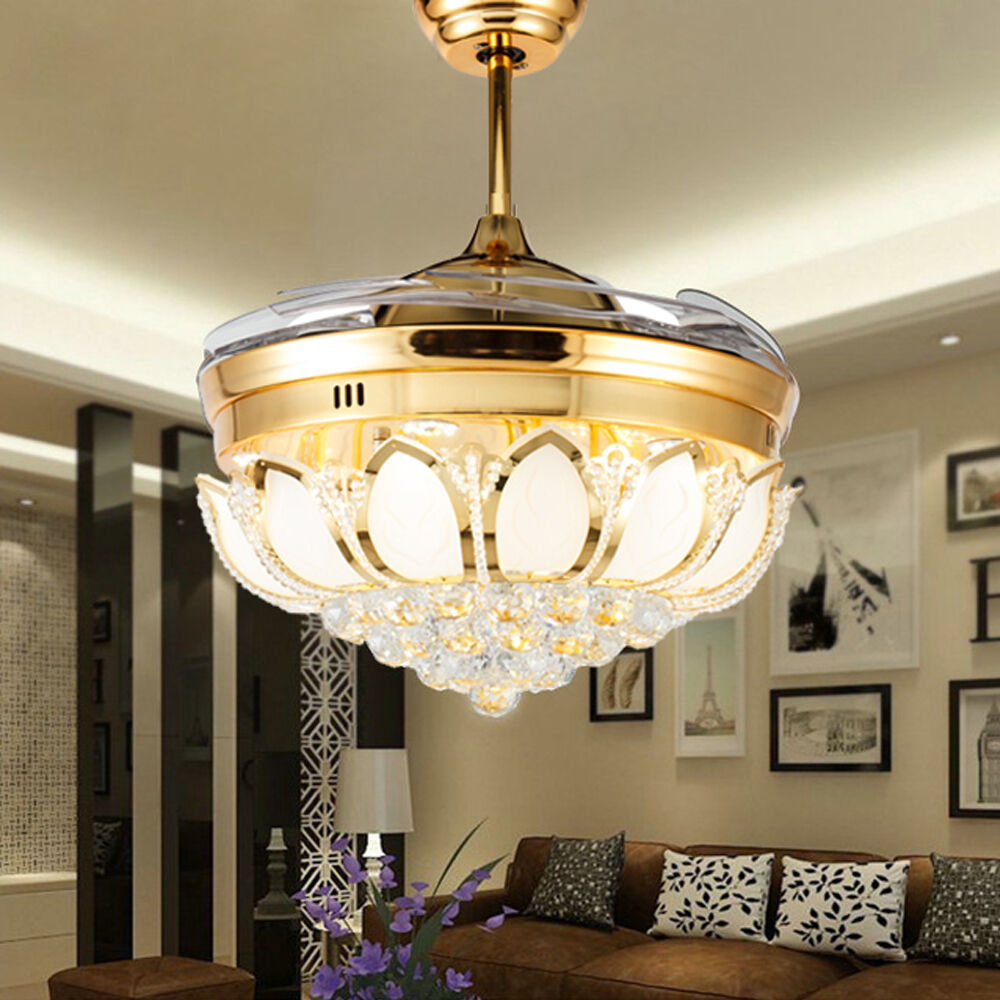 Details about remote control led crystal ceiling fan lamp fan chandelier lighting fixtures