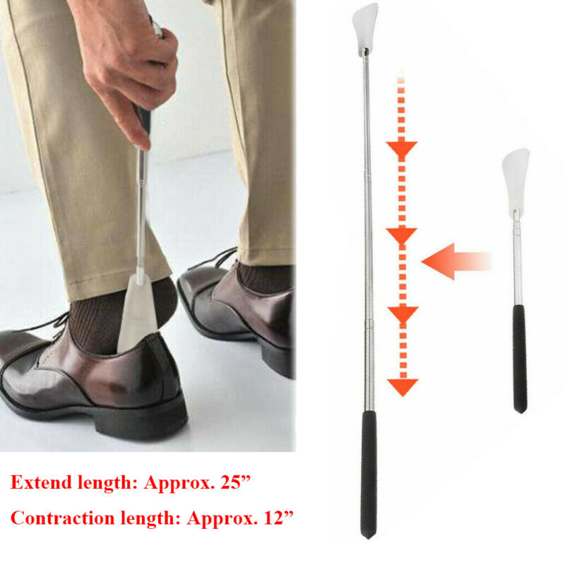 "25"" Extra Long Shoe Horn Stainless Steel Handle Metal Shoes Remover Extendable"