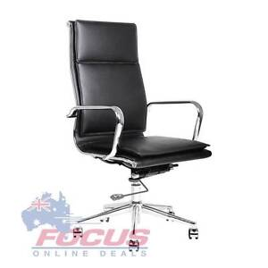 High Back Executive PU Leather Office Computer Chair Black Melbourne CBD Melbourne City Preview