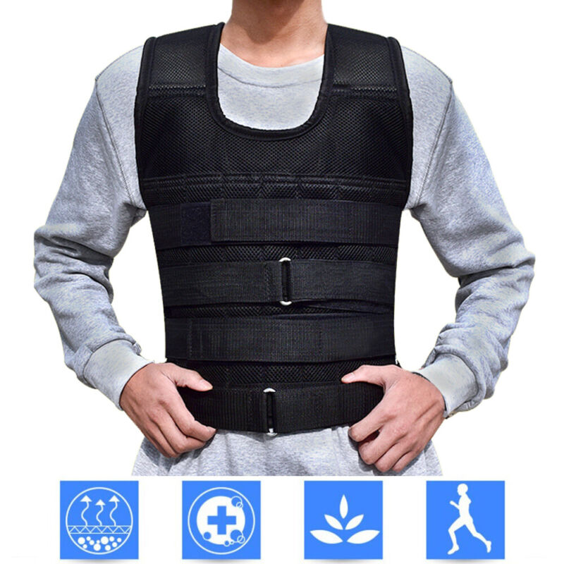 Adjustable Weighted Vest 22lb-132lb Weight Plate Fitness Exercise Training Empty