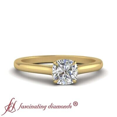 Half Carat Cushion Cut Bow Tie Single Diamond Engagement Ring In 18K Yellow Gold 1
