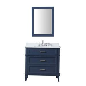 NEW OVE Tux 36 in. Midnight Blue Vanity Condtion: New. Counter Top and Sink Have Fine Cracks