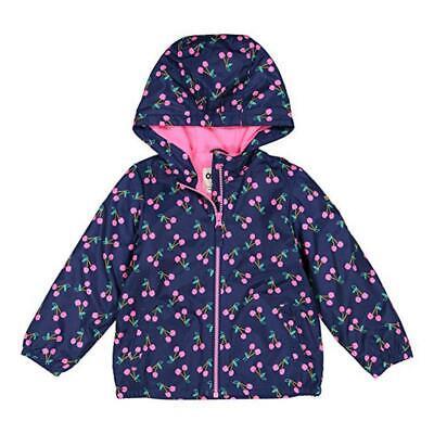 - Osh Kosh B'gosh Girls Navy Cherry Fleece Lined Jacket Size 2T 3T 4T 7 8 10/12 14
