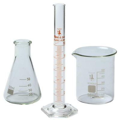 50ml Beaker 50ml Flask And 10ml Cylinder Set 3.3 Boro. - Karter Scientific