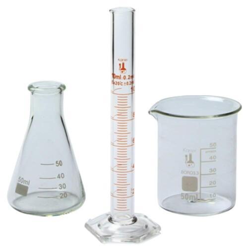 50ml Beaker, 50ml Flask, and 10ml Cylinder Set, 3.3 Boro. - Karter Scientific