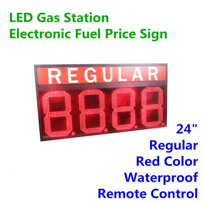 24 Wireless Led Gas Station Sign Red Color Electronic Fuel Price Sign Regular