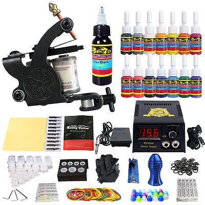 Complete Tattoo Kit 1 Tattoo Machine Gun 14 Color Inks Power Supply Grips TK102