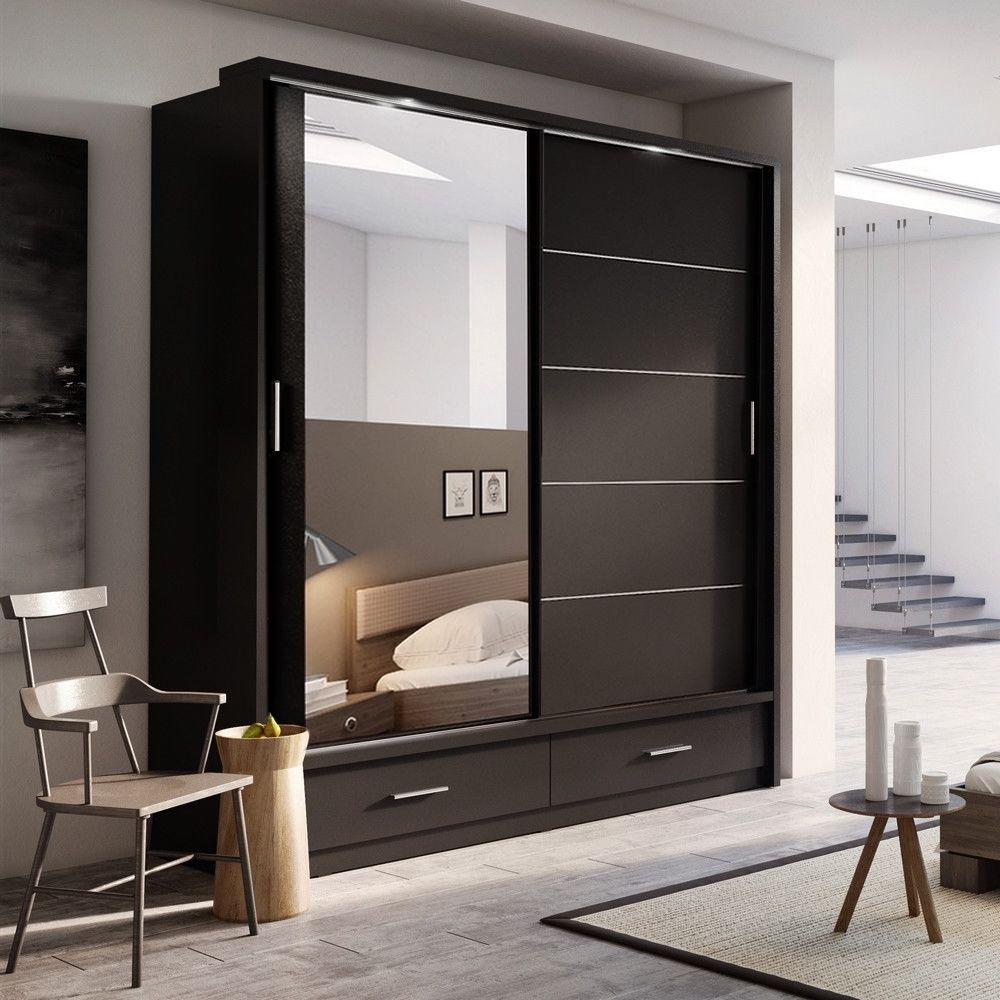 Brand New Modern Bedroom Wardrobe 2 Sliding Doors With Mirror 2