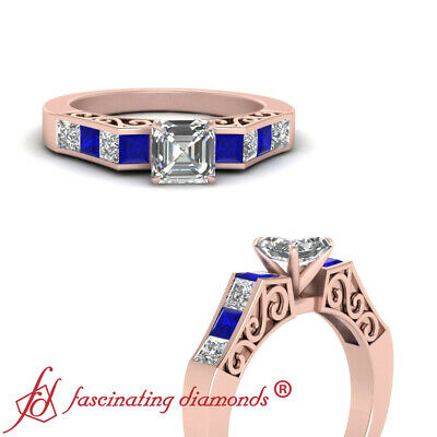 1.60 Carat Channel Set 14K Rose Gold Asscher Cut Diamond Rings & Sapphire GIA
