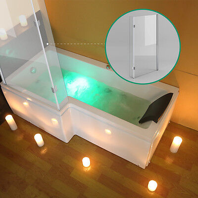 L Shaped LEFT Hand Whirlpool Shower Spa Jacuzzi Bathtub 8 JET WITH SCREEN+BASIN